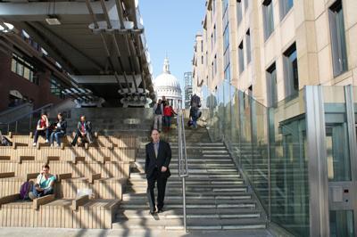 Stuart Hayes walking down steps from St Pauls