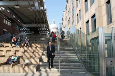 Stuart Hayes walking down steps from St Pauls